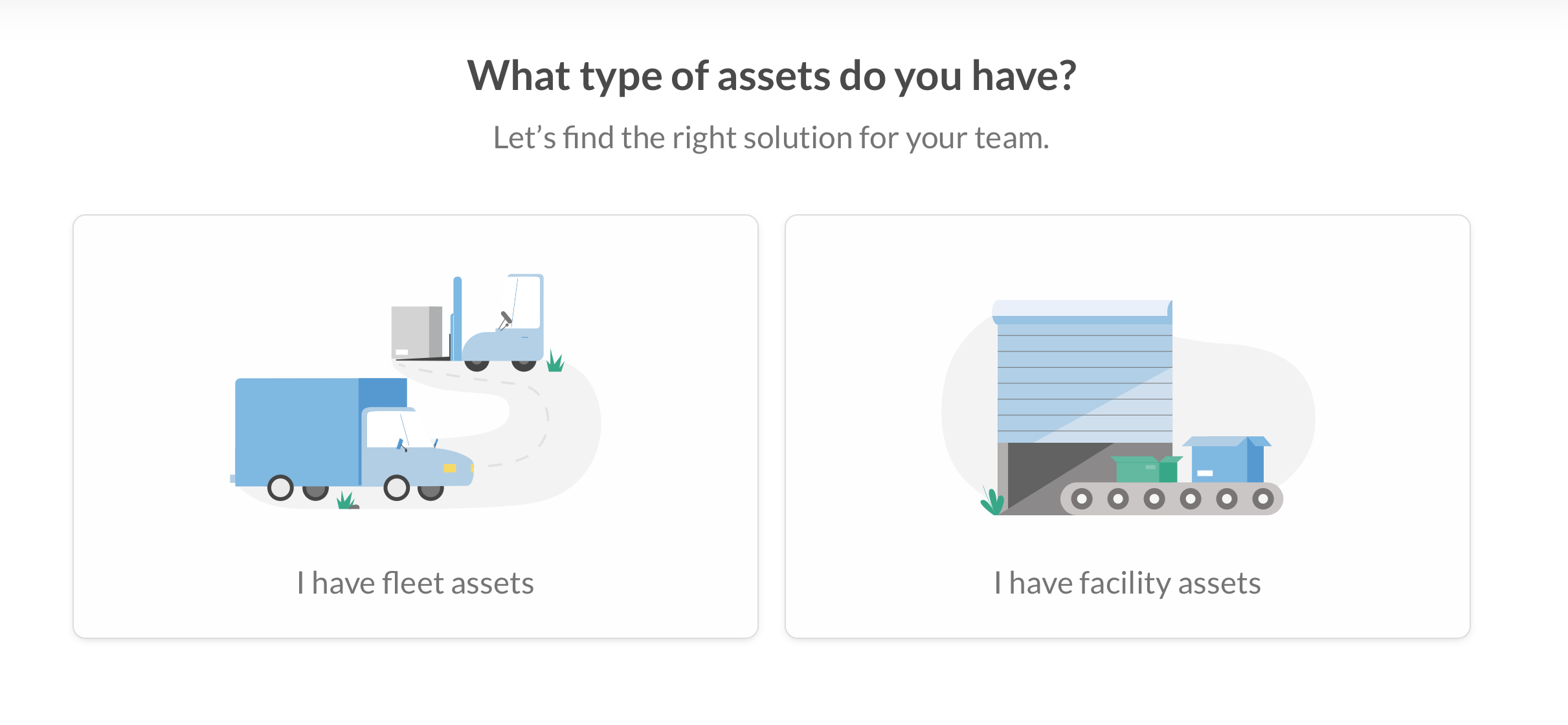 Two buttons with images asking which type of asset a user has